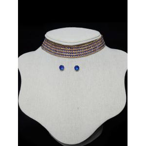 Tiered Rhinestone Choker Necklace Set