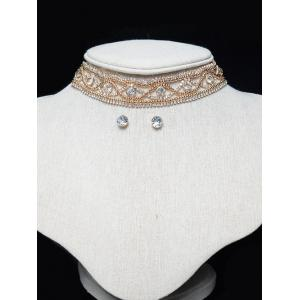 Hollowed Beaded Eye Rhinestone Choker Set - Golden - 8