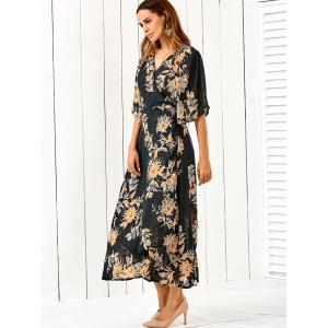 V Neck Flower Print Kimono Maxi Wrap Dress - Floral - M