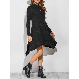 Ribbed Asymmetrical Long Sleeve Skater Sweater Dress