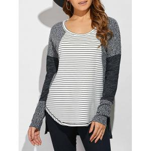 Striped Ribbed Knitted High Low Pullover - White And Black - Xl