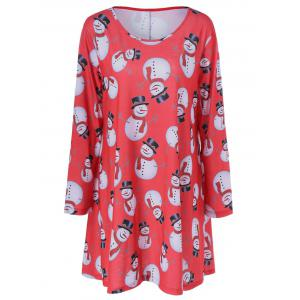 Casual Plus Size Christmas Snowman Print Dress