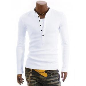 Long Sleeve Half Button Embellished T-Shirt