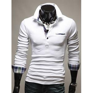 Front Pocket Plaid Splicing Long Sleeve Polo T-Shirt