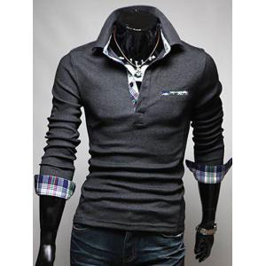 Front Pocket Plaid Splicing Long Sleeve Polo T-Shirt - Deep Gray - M