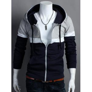 Hooded Color Block Zip Up Long Sleeve Hoodie