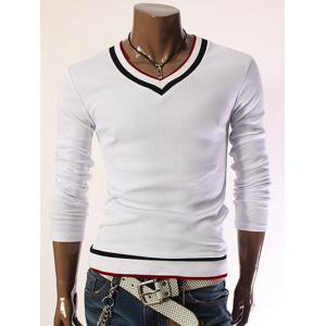 Color Block V-Neck Long Sleeve Slim T-Shirt