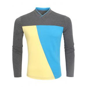 V-Neck Color Block Long Sleeve T-Shirt