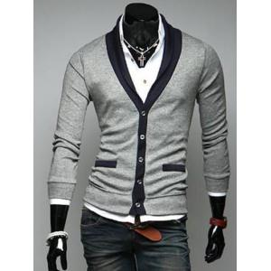 Two Pocket Styling Shawl Collar Cardigan