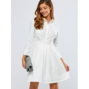 Self-Tie A Line Long Sleeve Button Up Shirt Dress