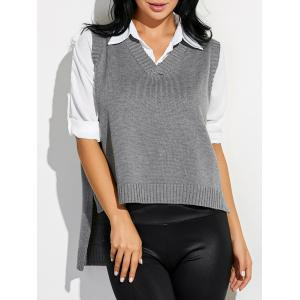 High Low Sweater V Neck Vest - Gray - One Size