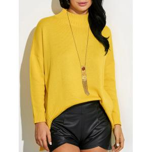 High Neck Asymmetric Slit Sweater - Ginger - One Size
