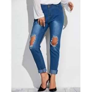 Frayed Broken Hole Denim Pencil Pants - Deep Blue - M