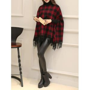 Turtleneck Fringe Plaid Cape Sweater