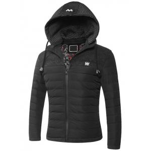 Hooded Zip-Up Splicing Quilted Jacket