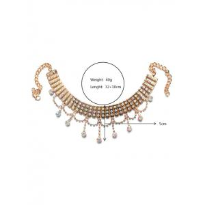 Tiered Rhinestone Layered Alloy Choker Set - GOLDEN
