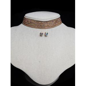 Tiered Rhinestone Choker Necklace Set -