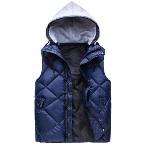Zipper Padded Hooded Vest - Deep Blue - M