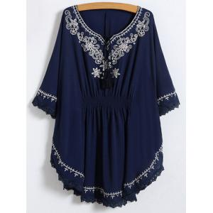 Lace Trim Embroidered Cotton Peasant Blouse
