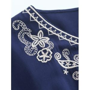 Lace Trim Embroidered Cotton Peasant Blouse - PURPLISH BLUE ONE SIZE