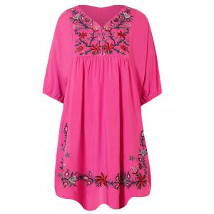 V Neck Embroidered Bib A Line Casual Dress Female - Rose Red - One Size