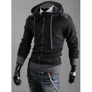 Hooded Color Block Drawstring Zipper Hoodie -