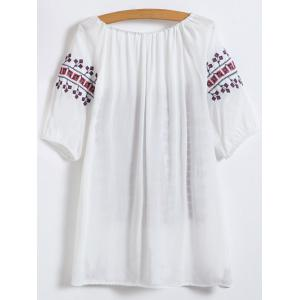 Embroidered Top - WHITE ONE SIZE