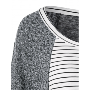 Striped Ribbed Knitted High Low Pullover - WHITE/BLACK M