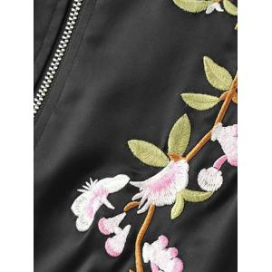 Stand Neck Floral Embroidered Fall Bomber Jacket - BLACK L