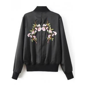 Stand Neck Floral Embroidered Fall Bomber Jacket -