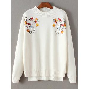 Mock Neck Bird Embroidered Knitwear - White - One Size