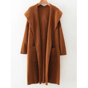 Pockets Hooded Long Cardigan - Brown - One Size