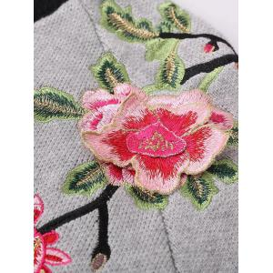 Floral Embroidered Front Zipper Cardigan - GRAY ONE SIZE