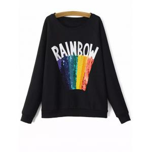 Round Neck Rainbow Sequins Sweatshirt