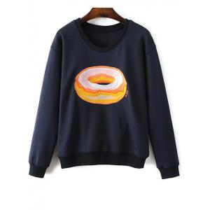 Jewel Neck Bread Embroidered Sweatshirt