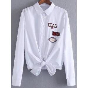 Button Up Patched Front Knot Blouse
