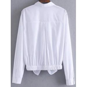 Button Up Patched Front Knot Blouse - WHITE M