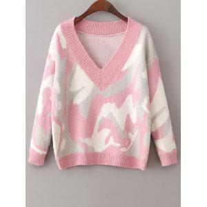 Jacquard Camoflage Mohair Jumper - Pink - One Size
