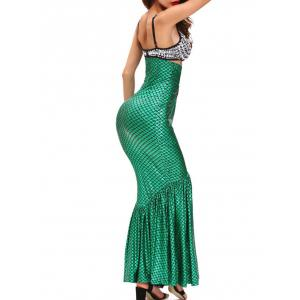 Hallowmas Costumes Mermaid Skirt With Bra - GREEN L