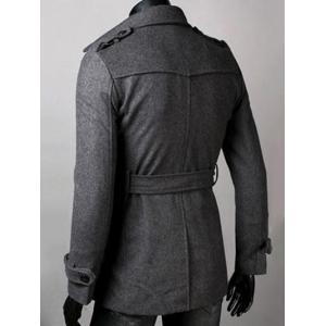 Belted Lapel Single Breasted Woolen Tweed Coat - DEEP GRAY 2XL