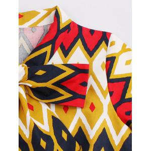 Retro Bow Tie High Waisted Printed Dress - GINGER 4XL