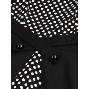 Polka Dot Semi Formal Midi Skater Dress - BLACK XL