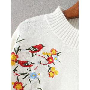 Mock Neck Bird Embroidered Knitwear -