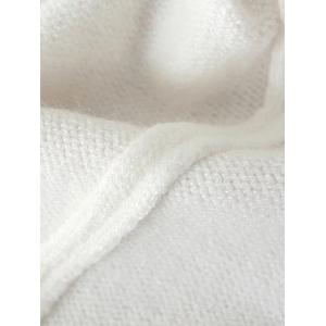 Mock Neck Bird Embroidered Knitwear - WHITE ONE SIZE
