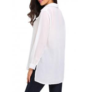 High Low Hem Sheer Lace Up Front Shirt - WHITE L