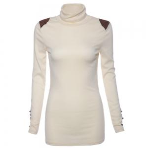 Bead Splicing Turtle Neck Sweater - White - One Size