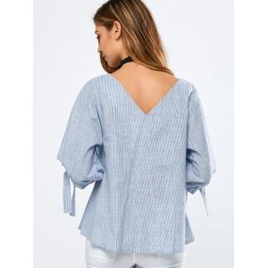 Striped Tied-Up Puff Sleeves Blouse -