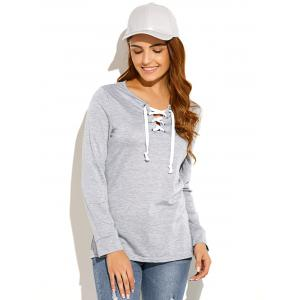 Criss-Cross Pullover Sweatshirt - LIGHT GRAY XL