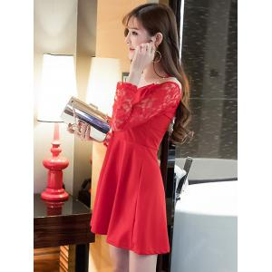 Cold Shoulder Lace Splicing Swing Dress - RED L