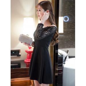 Cold Shoulder Lace Splicing Swing Dress - BLACK M